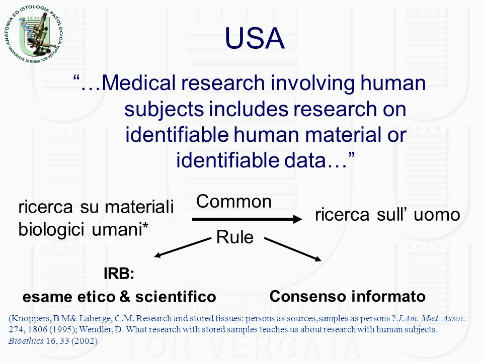 USA …Medical research involving human subjects includes research on identifiable human material or identifiable data… (Knoppers, B M& Laberge, C.M.