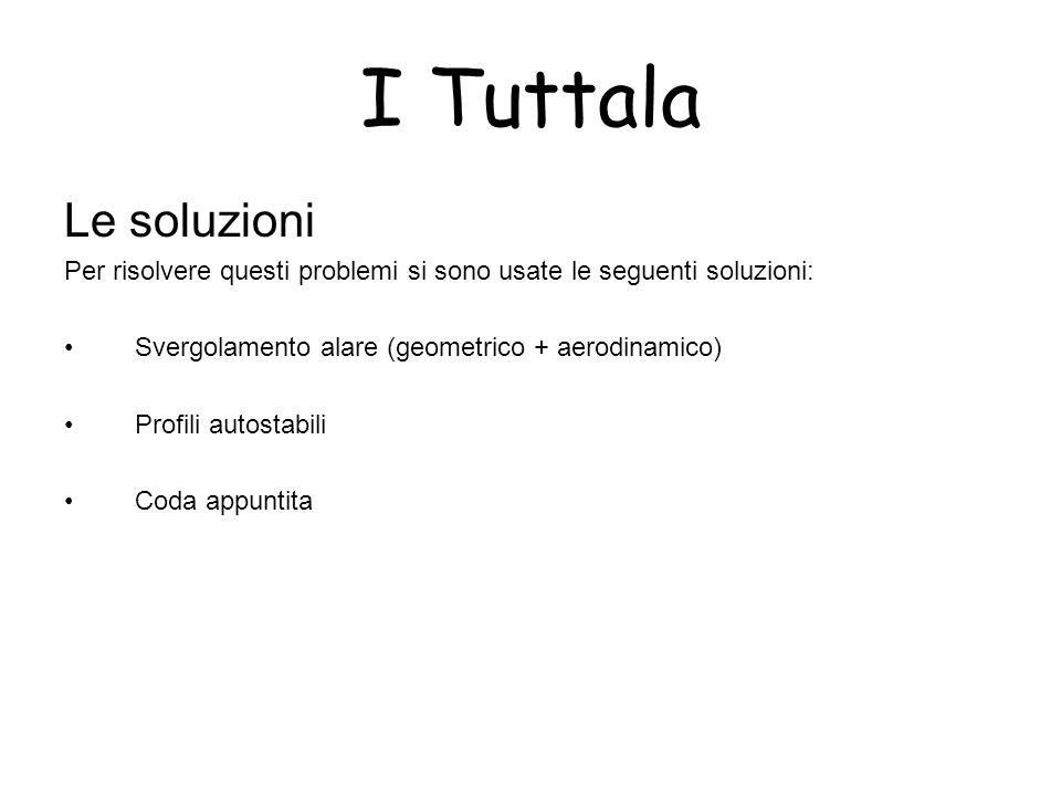 I Tuttala Le soluzioni Per risolvere questi problemi si sono usate le seguenti soluzioni: Svergolamento alare (geometrico + aerodinamico) Profili auto