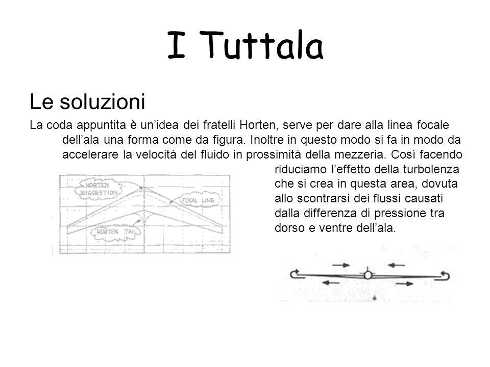 I Tuttala Le soluzioni La coda appuntita è unidea dei fratelli Horten, serve per dare alla linea focale dellala una forma come da figura. Inoltre in q
