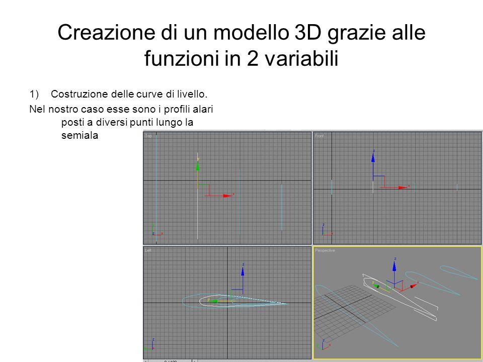 Creazione di un modello 3D grazie alle funzioni in 2 variabili 1) Costruzione delle curve di livello. Nel nostro caso esse sono i profili alari posti