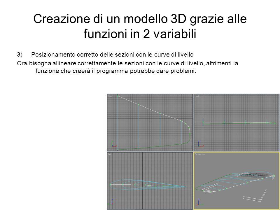 Creazione di un modello 3D grazie alle funzioni in 2 variabili 3) Posizionamento corretto delle sezioni con le curve di livello Ora bisogna allineare