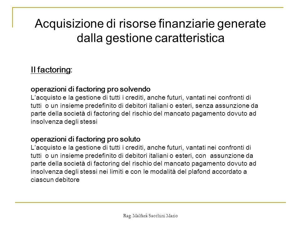 Rag. Malfarà Sacchini Mario Il factoring: operazioni di factoring pro solvendo Lacquisto e la gestione di tutti i crediti, anche futuri, vantati nei c