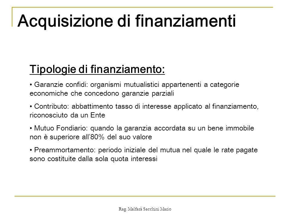 Rag. Malfarà Sacchini Mario Acquisizione di finanziamenti Tipologie di finanziamento: Garanzie confidi: organismi mutualistici appartenenti a categori