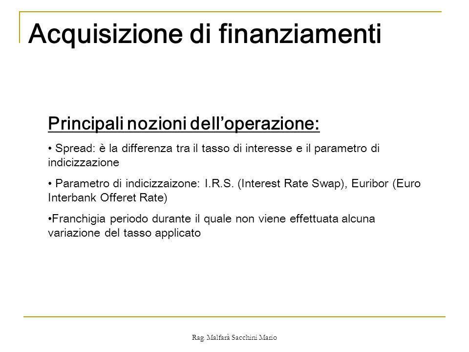 Rag. Malfarà Sacchini Mario Acquisizione di finanziamenti Principali nozioni delloperazione: Spread: è la differenza tra il tasso di interesse e il pa