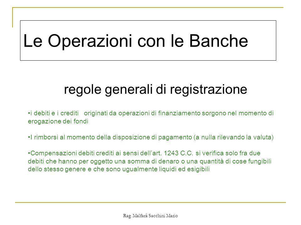 Rag. Malfarà Sacchini Mario Le Operazioni con le Banche regole generali di registrazione i debiti e i crediti originati da operazioni di finanziamento