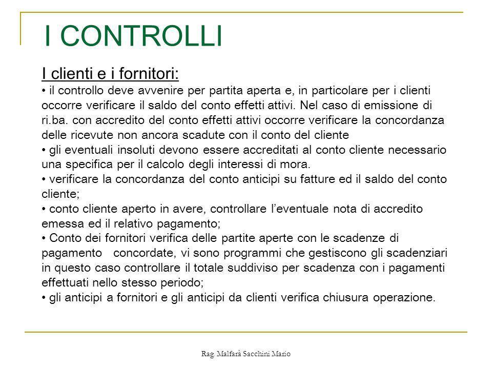 Rag. Malfarà Sacchini Mario I CONTROLLI I clienti e i fornitori: il controllo deve avvenire per partita aperta e, in particolare per i clienti occorre
