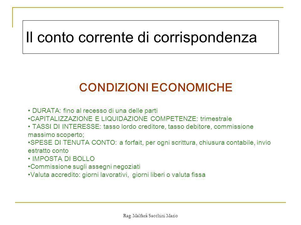 Rag. Malfarà Sacchini Mario Il conto corrente di corrispondenza CONDIZIONI ECONOMICHE DURATA: fino al recesso di una delle parti CAPITALIZZAZIONE E LI