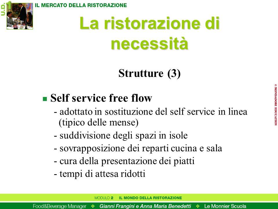 n Self service free flow - adottato in sostituzione del self service in linea (tipico delle mense) - suddivisione degli spazi in isole - sovrapposizio