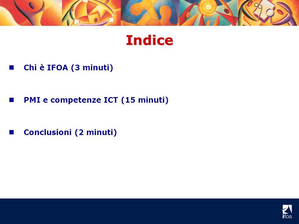 Indice nChi è IFOA (3 minuti) nPMI e competenze ICT (15 minuti) nConclusioni (2 minuti)