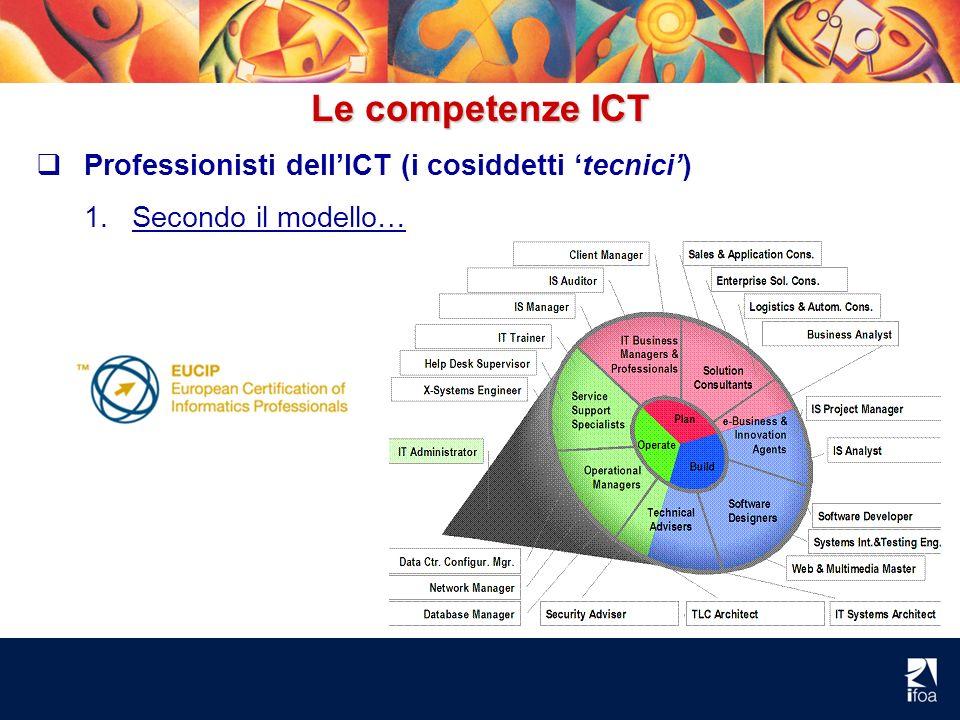 Le competenze ICT Professionisti dellICT (i cosiddetti tecnici) 1.Secondo il modello…