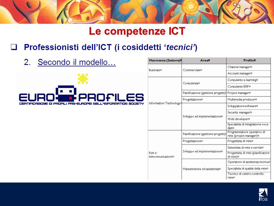 Le competenze ICT Professionisti dellICT (i cosiddetti tecnici) 2.Secondo il modello…