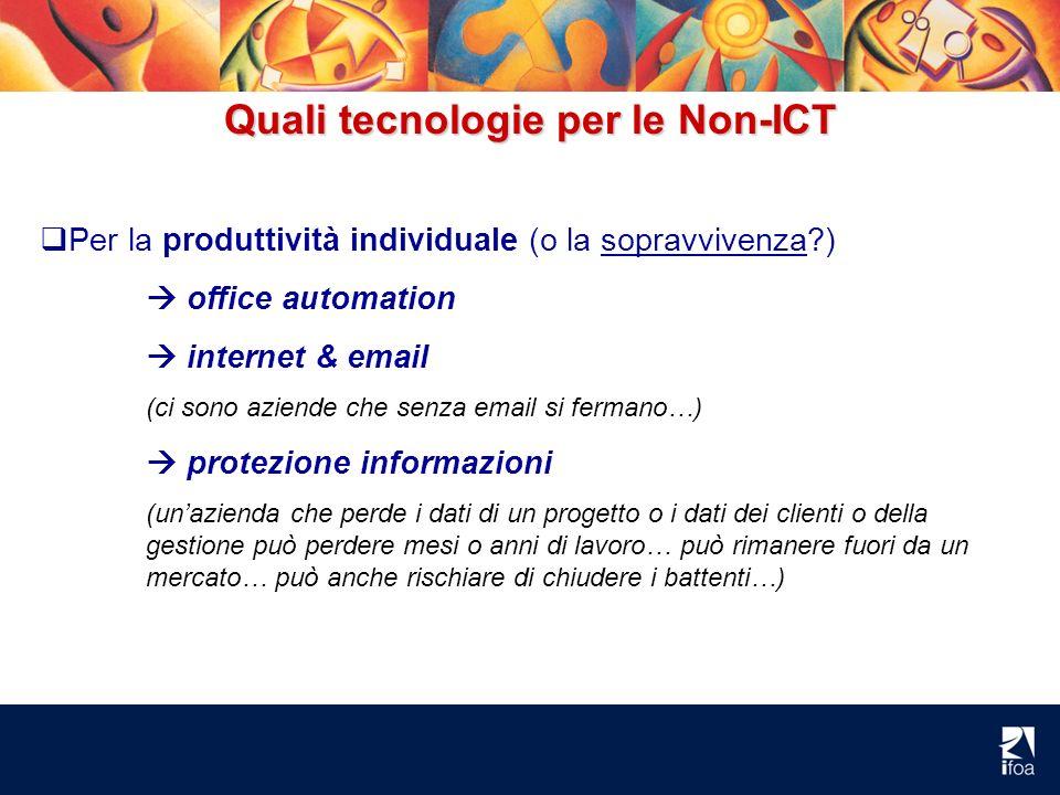 Quali tecnologie per le Non-ICT Per la produttività individuale (o la sopravvivenza?) office automation internet & email (ci sono aziende che senza em