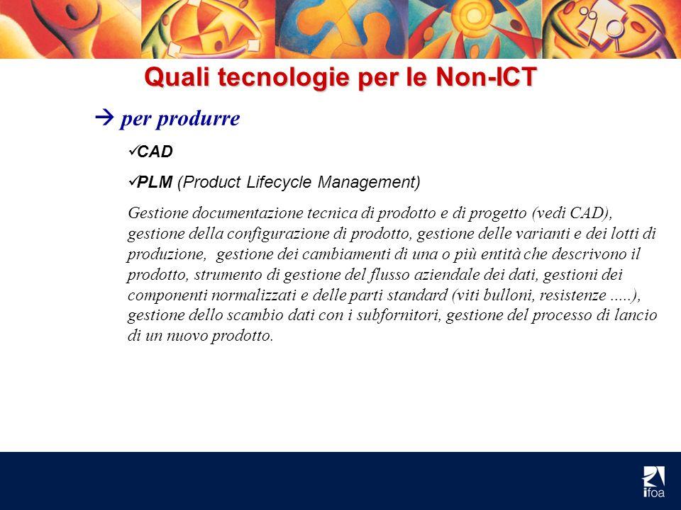 Quali tecnologie per le Non-ICT per produrre CAD PLM (Product Lifecycle Management) Gestione documentazione tecnica di prodotto e di progetto (vedi CA