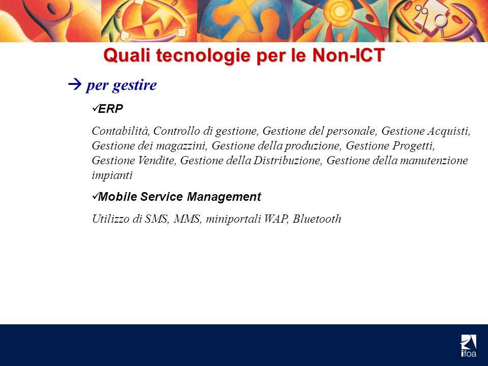 Quali tecnologie per le Non-ICT per gestire ERP Contabilità, Controllo di gestione, Gestione del personale, Gestione Acquisti, Gestione dei magazzini,