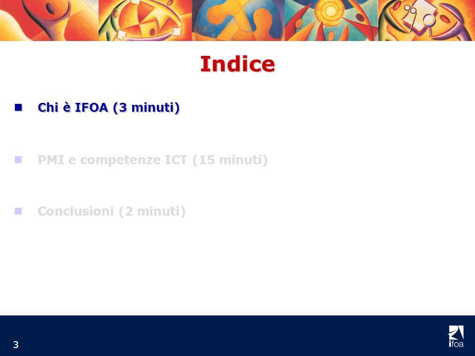 Indice 3 nCnCnCnChi è IFOA (3 minuti) nPMI e competenze ICT (15 minuti) nConclusioni (2 minuti)