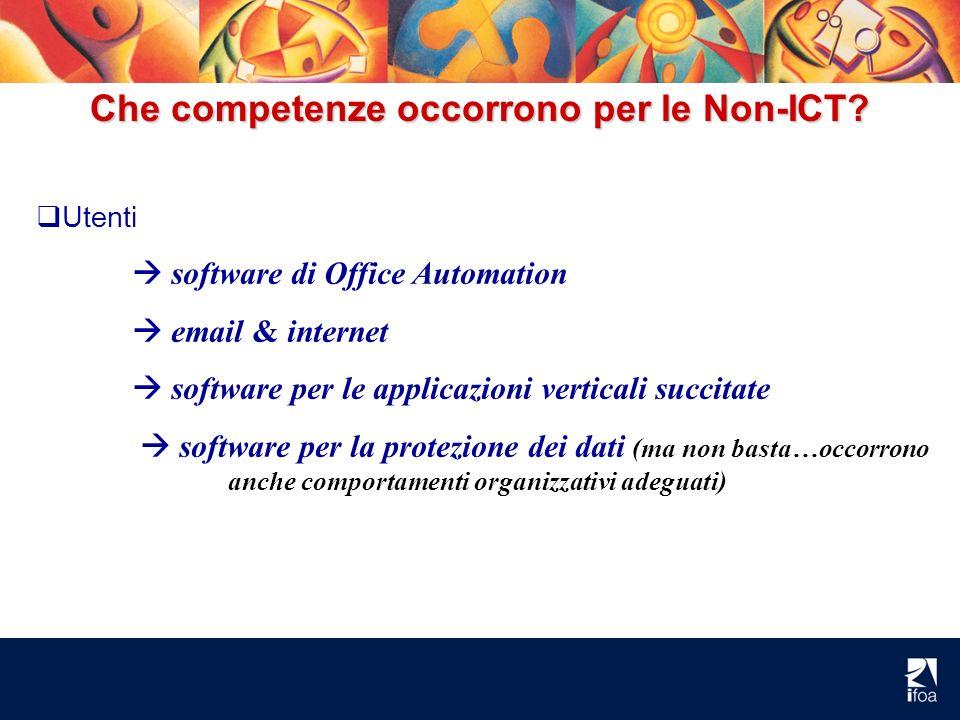 Che competenze occorrono per le Non-ICT? Utenti software di Office Automation email & internet software per le applicazioni verticali succitate softwa