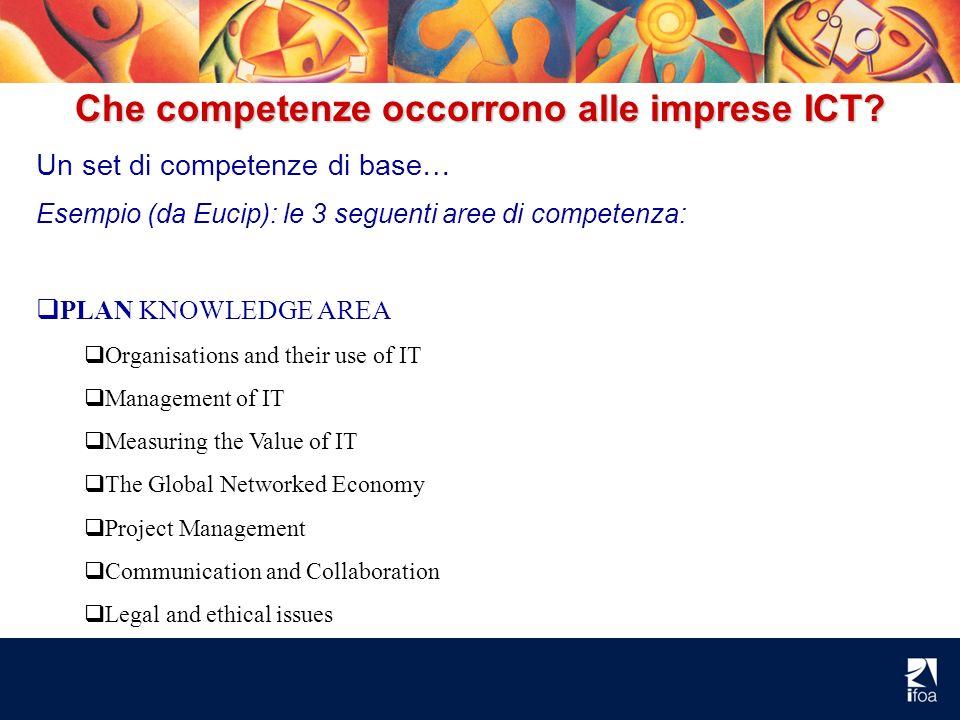 Che competenze occorrono alle imprese ICT? Un set di competenze di base… Esempio (da Eucip): le 3 seguenti aree di competenza: PLAN KNOWLEDGE AREA Org