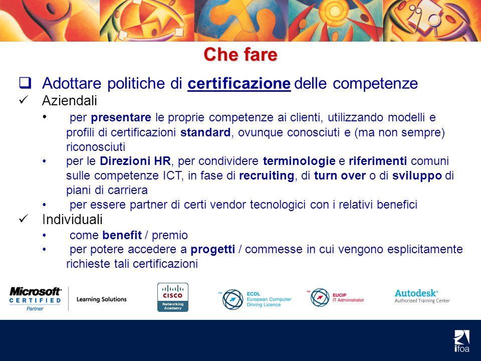 Che fare Adottare politiche di certificazione delle competenze Aziendali per presentare le proprie competenze ai clienti, utilizzando modelli e profil