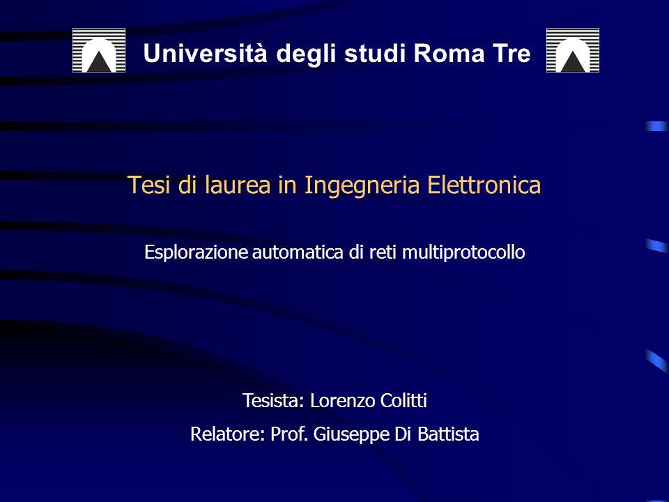 Tesi di laurea in Ingegneria Elettronica Università degli studi Roma Tre Esplorazione automatica di reti multiprotocollo Tesista: Lorenzo Colitti Relatore: Prof.