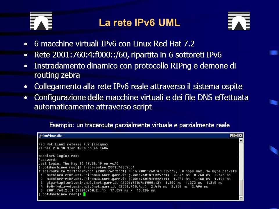6 macchine virtuali IPv6 con Linux Red Hat 7.2 Rete 2001:760:4:f000::/60, ripartita in 6 sottoreti IPv6 Instradamento dinamico con protocollo RIPng e demone di routing zebra Collegamento alla rete IPv6 reale attraverso il sistema ospite Configurazione delle macchine virtuali e dei file DNS effettuata automaticamente attraverso script La rete IPv6 UML Esempio: un traceroute parzialmente virtuale e parzialmente reale