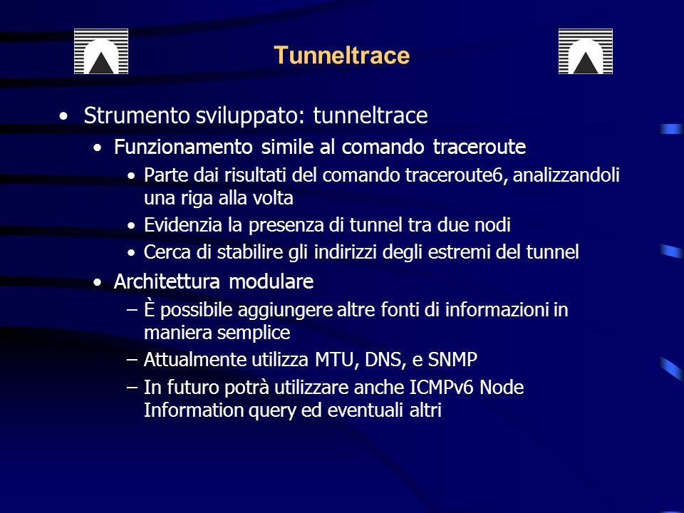 Strumento sviluppato: tunneltrace Funzionamento simile al comando traceroute Parte dai risultati del comando traceroute6, analizzandoli una riga alla volta Evidenzia la presenza di tunnel tra due nodi Cerca di stabilire gli indirizzi degli estremi del tunnel Architettura modulare –È possibile aggiungere altre fonti di informazioni in maniera semplice –Attualmente utilizza MTU, DNS, e SNMP –In futuro potrà utilizzare anche ICMPv6 Node Information query ed eventuali altri Tunneltrace