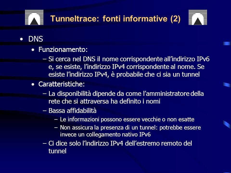 DNS Funzionamento: –Si cerca nel DNS il nome corrispondente allindirizzo IPv6 e, se esiste, lindirizzo IPv4 corrispondente al nome.