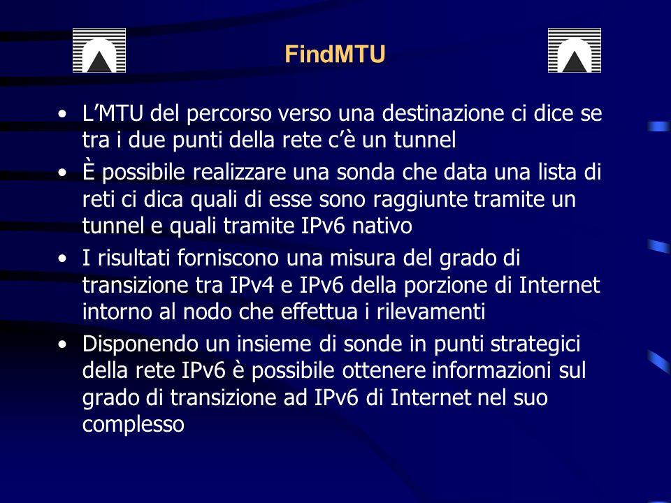 LMTU del percorso verso una destinazione ci dice se tra i due punti della rete cè un tunnel È possibile realizzare una sonda che data una lista di reti ci dica quali di esse sono raggiunte tramite un tunnel e quali tramite IPv6 nativo I risultati forniscono una misura del grado di transizione tra IPv4 e IPv6 della porzione di Internet intorno al nodo che effettua i rilevamenti Disponendo un insieme di sonde in punti strategici della rete IPv6 è possibile ottenere informazioni sul grado di transizione ad IPv6 di Internet nel suo complesso FindMTU