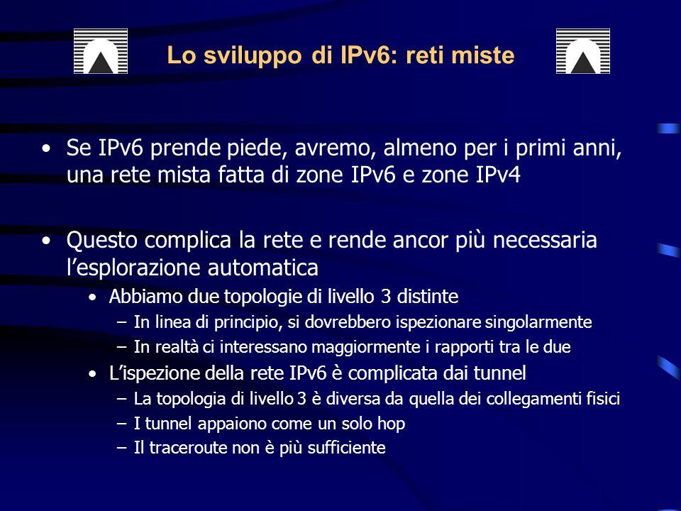 Se IPv6 prende piede, avremo, almeno per i primi anni, una rete mista fatta di zone IPv6 e zone IPv4 Questo complica la rete e rende ancor più necessaria lesplorazione automatica Abbiamo due topologie di livello 3 distinte –In linea di principio, si dovrebbero ispezionare singolarmente –In realtà ci interessano maggiormente i rapporti tra le due Lispezione della rete IPv6 è complicata dai tunnel –La topologia di livello 3 è diversa da quella dei collegamenti fisici –I tunnel appaiono come un solo hop –Il traceroute non è più sufficiente Lo sviluppo di IPv6: reti miste