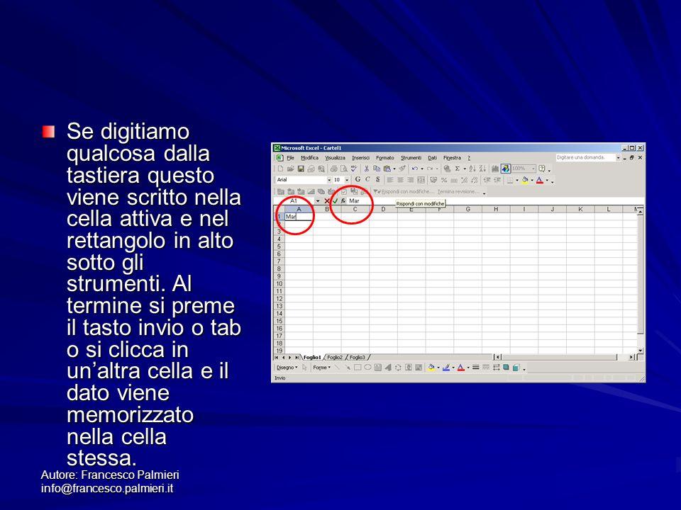 Autore: Francesco Palmieri info@francesco.palmieri.it Se digitiamo qualcosa dalla tastiera questo viene scritto nella cella attiva e nel rettangolo in alto sotto gli strumenti.