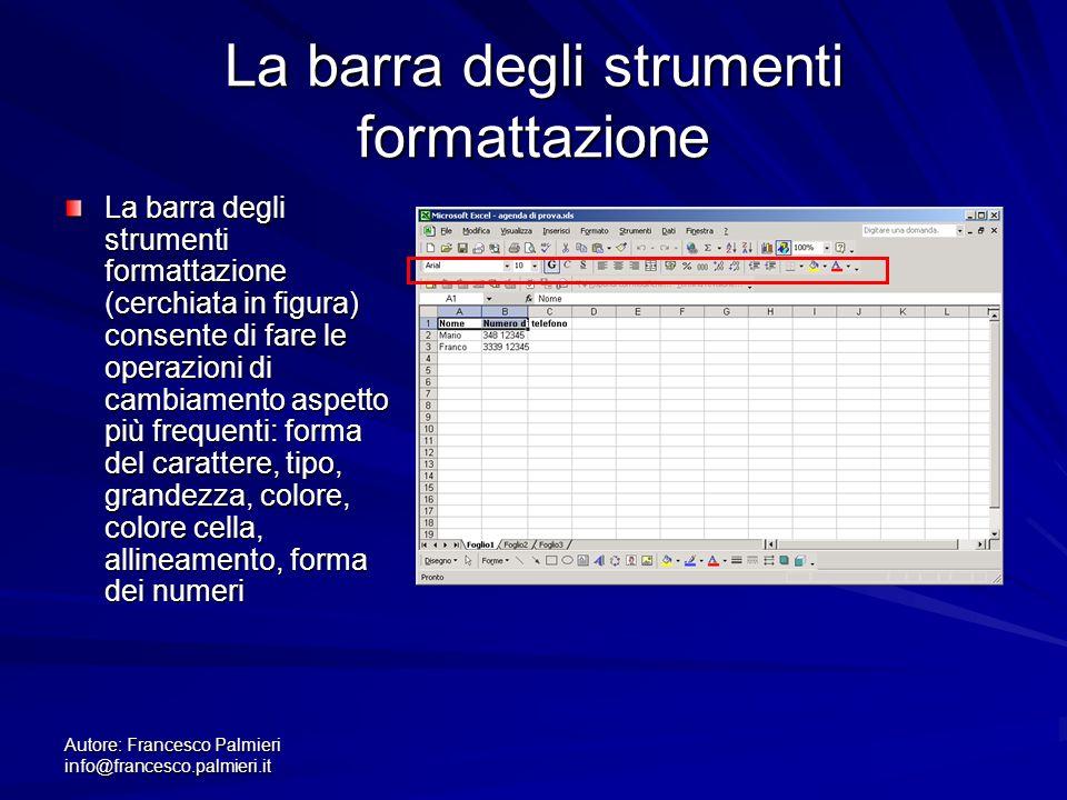 Autore: Francesco Palmieri info@francesco.palmieri.it La barra degli strumenti formattazione La barra degli strumenti formattazione (cerchiata in figu