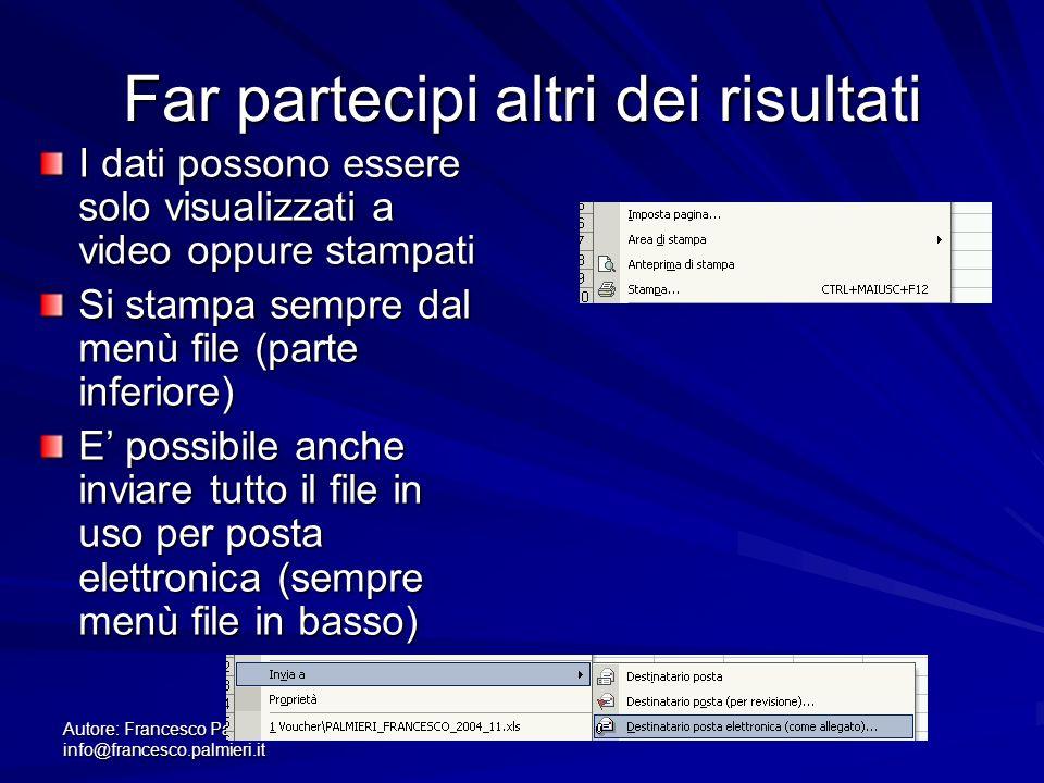 Autore: Francesco Palmieri info@francesco.palmieri.it Far partecipi altri dei risultati I dati possono essere solo visualizzati a video oppure stampat