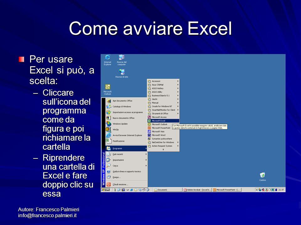 Autore: Francesco Palmieri info@francesco.palmieri.it Come avviare Excel Per usare Excel si può, a scelta: –Cliccare sullicona del programma come da f