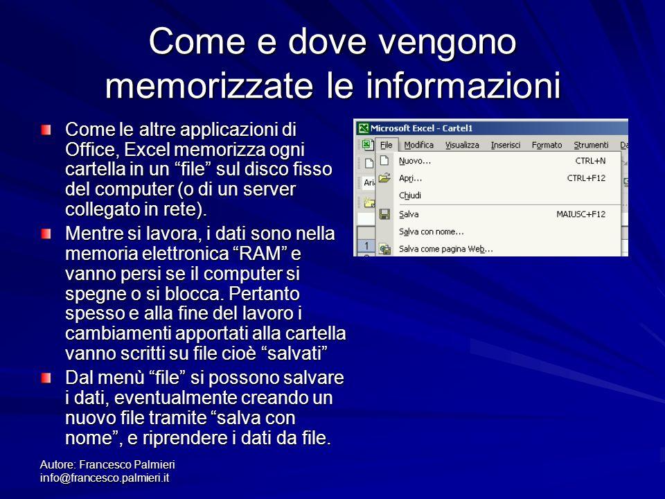 Autore: Francesco Palmieri info@francesco.palmieri.it Come e dove vengono memorizzate le informazioni Come le altre applicazioni di Office, Excel memorizza ogni cartella in un file sul disco fisso del computer (o di un server collegato in rete).