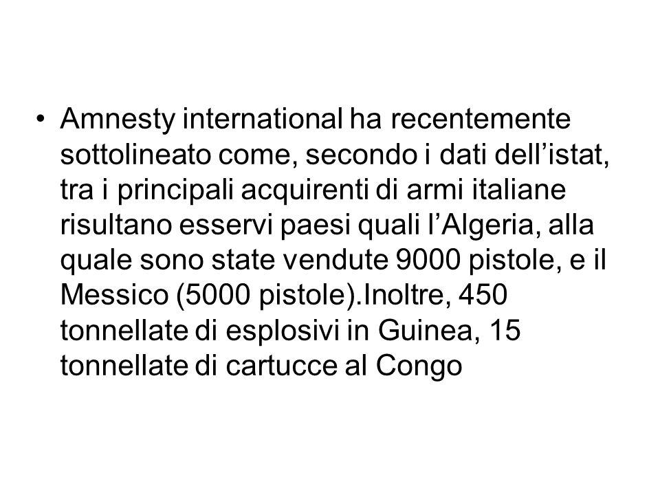 Amnesty international ha recentemente sottolineato come, secondo i dati dellistat, tra i principali acquirenti di armi italiane risultano esservi paes