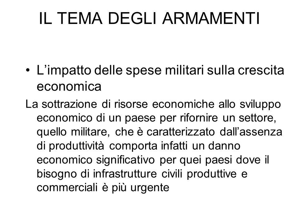 IL TEMA DEGLI ARMAMENTI Limpatto delle spese militari sulla crescita economica La sottrazione di risorse economiche allo sviluppo economico di un paes