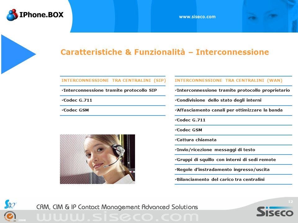 2008 12 INTERCONNESSIONE TRA CENTRALINI (WAN) Interconnessione tramite protocollo proprietario Condivisione dello stato degli interni Affasciamento ca