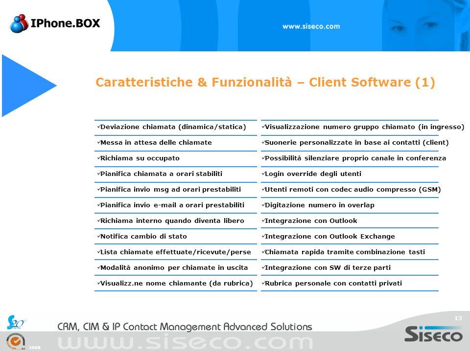 2008 13 Caratteristiche & Funzionalità – Client Software (1) Deviazione chiamata (dinamica/statica) Messa in attesa delle chiamate Richiama su occupat