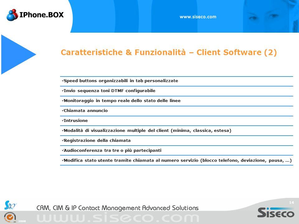 2008 14 Caratteristiche & Funzionalità – Client Software (2) Speed buttons organizzabili in tab personalizzate Invio sequenza toni DTMF configurabile