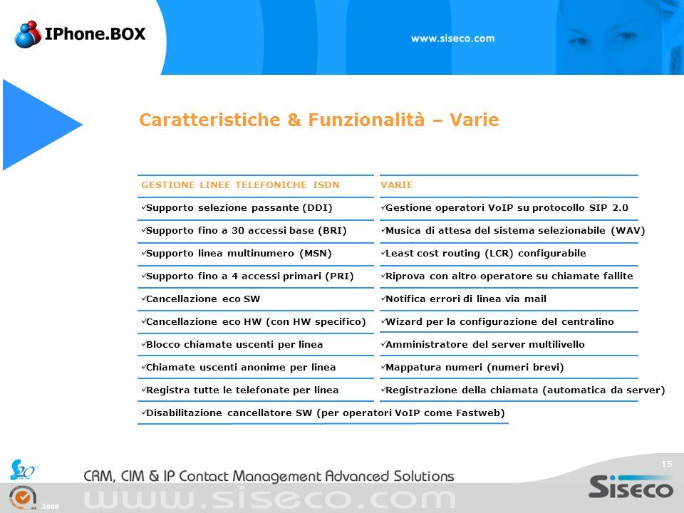 2008 15 Caratteristiche & Funzionalità – Varie GESTIONE LINEE TELEFONICHE ISDN Supporto selezione passante (DDI) Supporto fino a 30 accessi base (BRI)