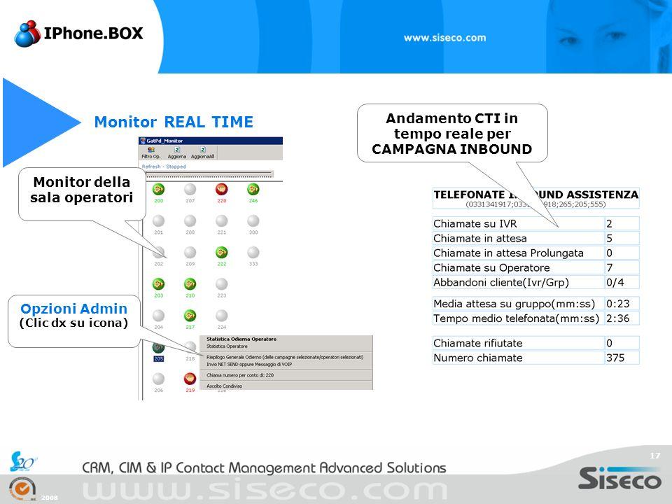 2008 17 Monitor REAL TIME Monitor della sala operatori Andamento CTI in tempo reale per CAMPAGNA INBOUND Opzioni Admin (Clic dx su icona)