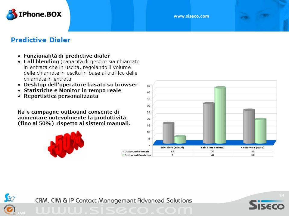 2008 24 Funzionalità di predictive dialer Call blending (capacità di gestire sia chiamate in entrata che in uscita, regolando il volume delle chiamate