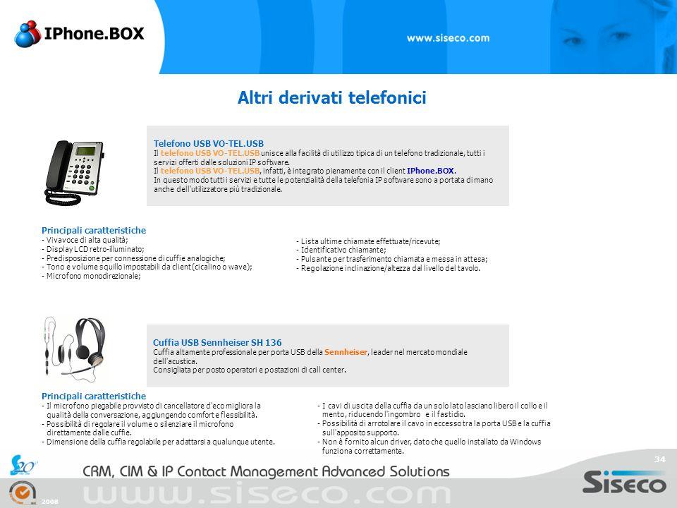 2008 34 Altri derivati telefonici Telefono USB VO-TEL.USB Il telefono USB VO-TEL.USB unisce alla facilità di utilizzo tipica di un telefono tradiziona