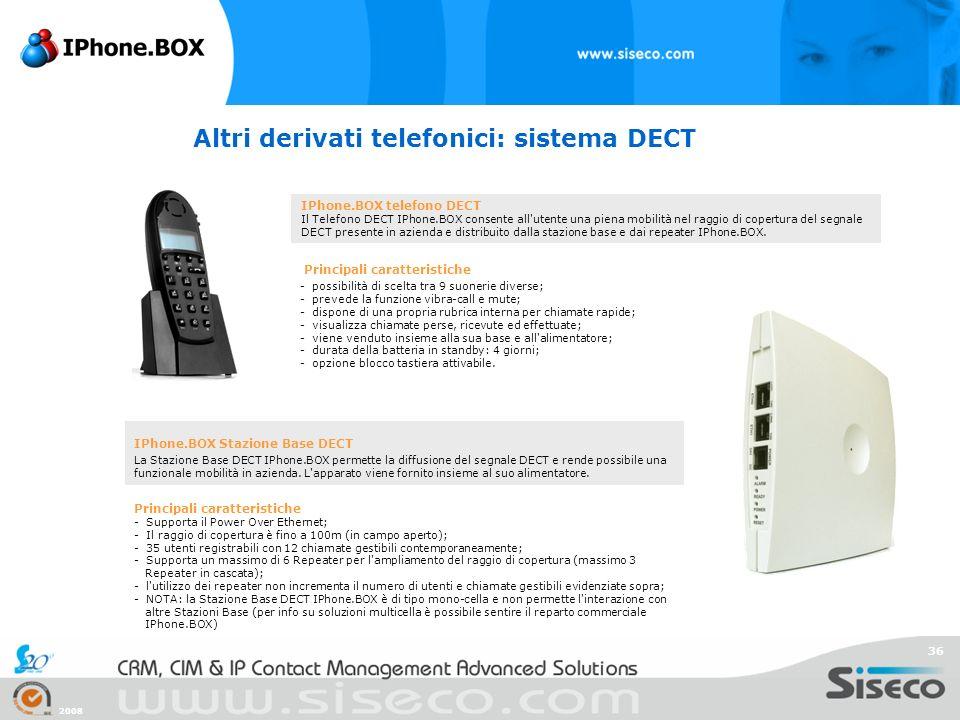 2008 36 Altri derivati telefonici: sistema DECT IPhone.BOX telefono DECT Il Telefono DECT IPhone.BOX consente all'utente una piena mobilità nel raggio