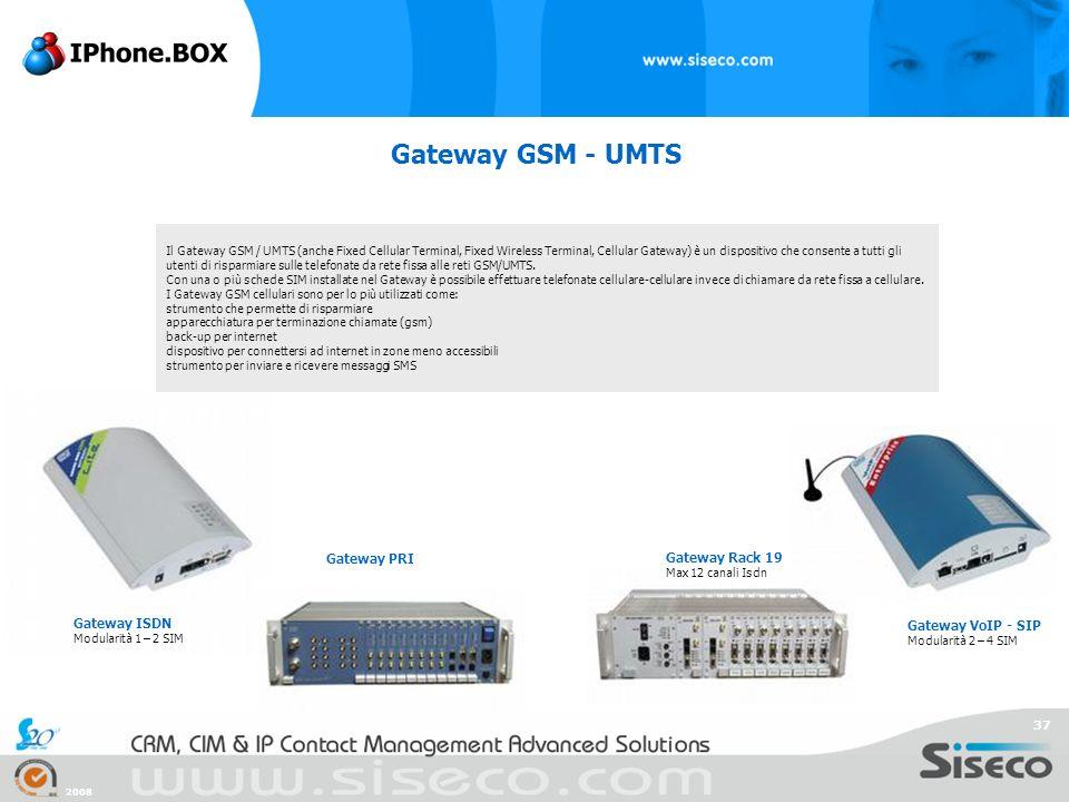 2008 37 Gateway GSM - UMTS Il Gateway GSM / UMTS (anche Fixed Cellular Terminal, Fixed Wireless Terminal, Cellular Gateway) è un dispositivo che conse