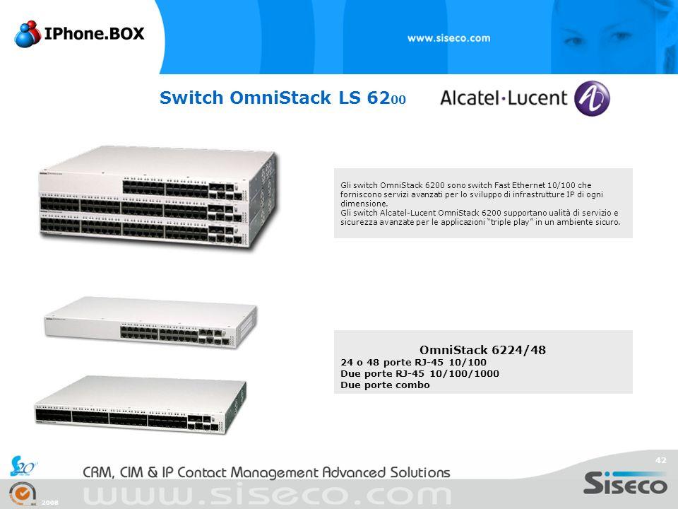 2008 42 Switch OmniStack LS 62 00 Gli switch OmniStack 6200 sono switch Fast Ethernet 10/100 che forniscono servizi avanzati per lo sviluppo di infras