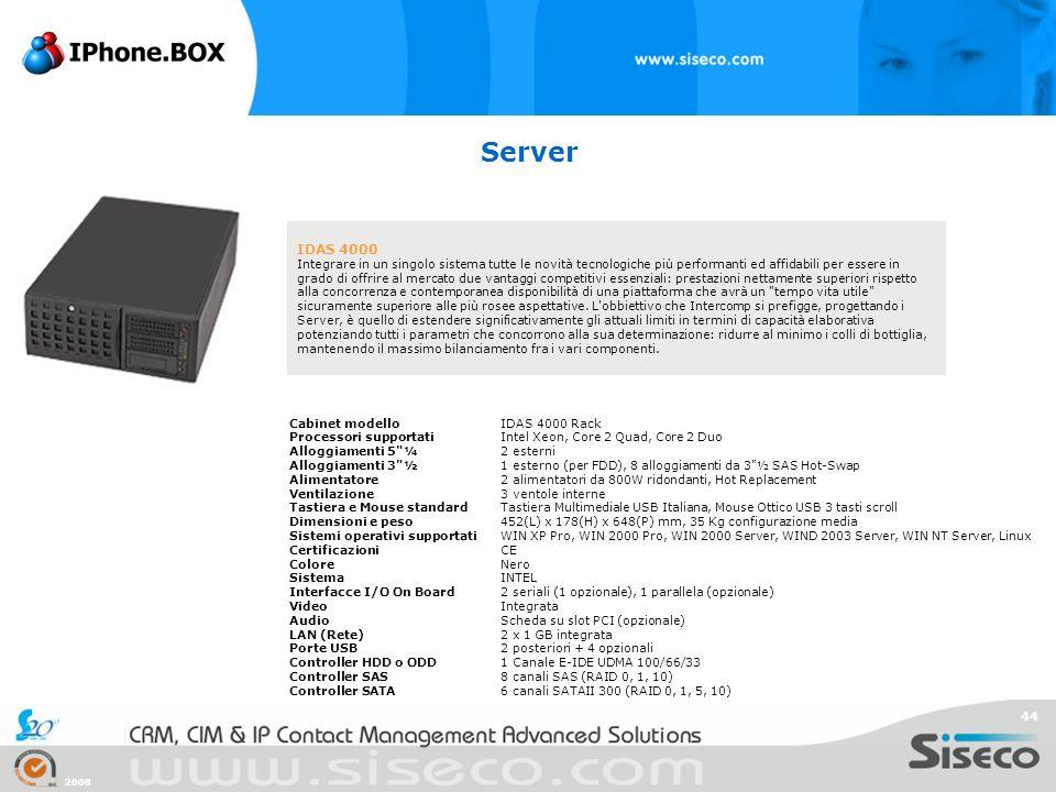 2008 44 Server IDAS 4000 Integrare in un singolo sistema tutte le novità tecnologiche più performanti ed affidabili per essere in grado di offrire al