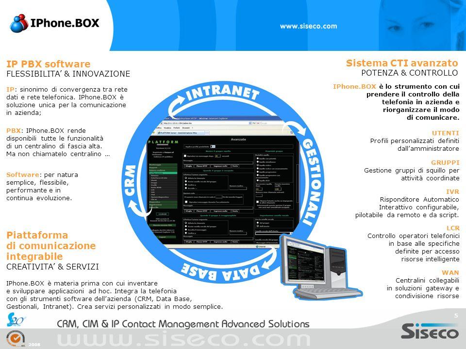 2008 5 IP PBX software FLESSIBILITA & INNOVAZIONE IP: sinonimo di convergenza tra rete dati e rete telefonica. IPhone.BOX è soluzione unica per la com