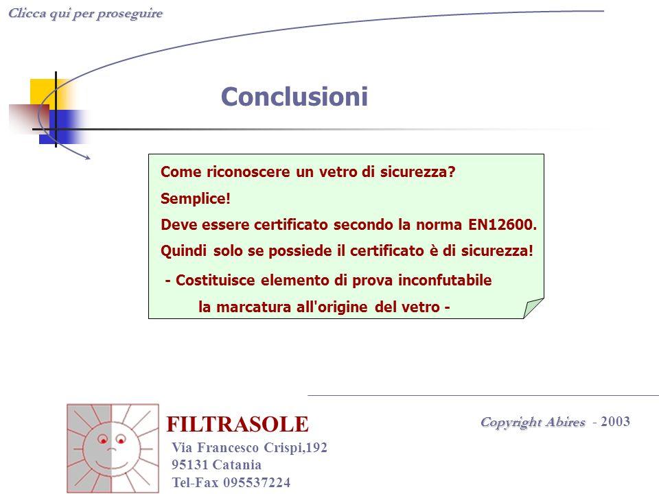 Clicca qui per proseguire Copyright Abires Copyright Abires - 2003 FILTRASOLE Via Francesco Crispi,192 95131 Catania Tel-Fax 095537224 Conclusioni Com