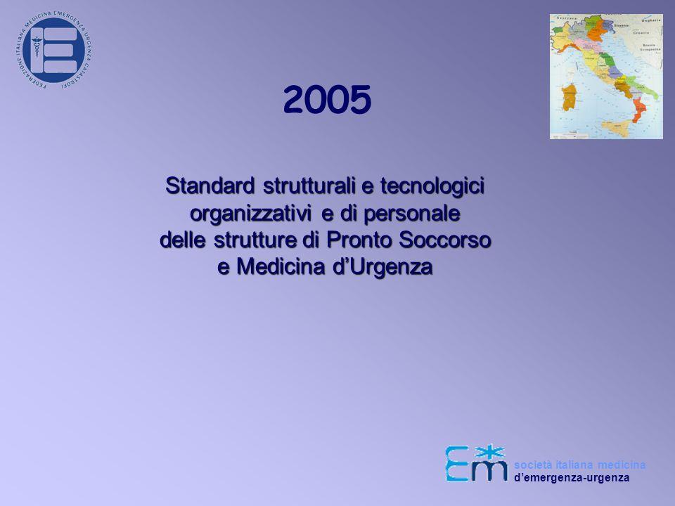 2005 Standard strutturali e tecnologici organizzativi e di personale delle strutture di Pronto Soccorso e Medicina dUrgenza società italiana medicina demergenza-urgenza