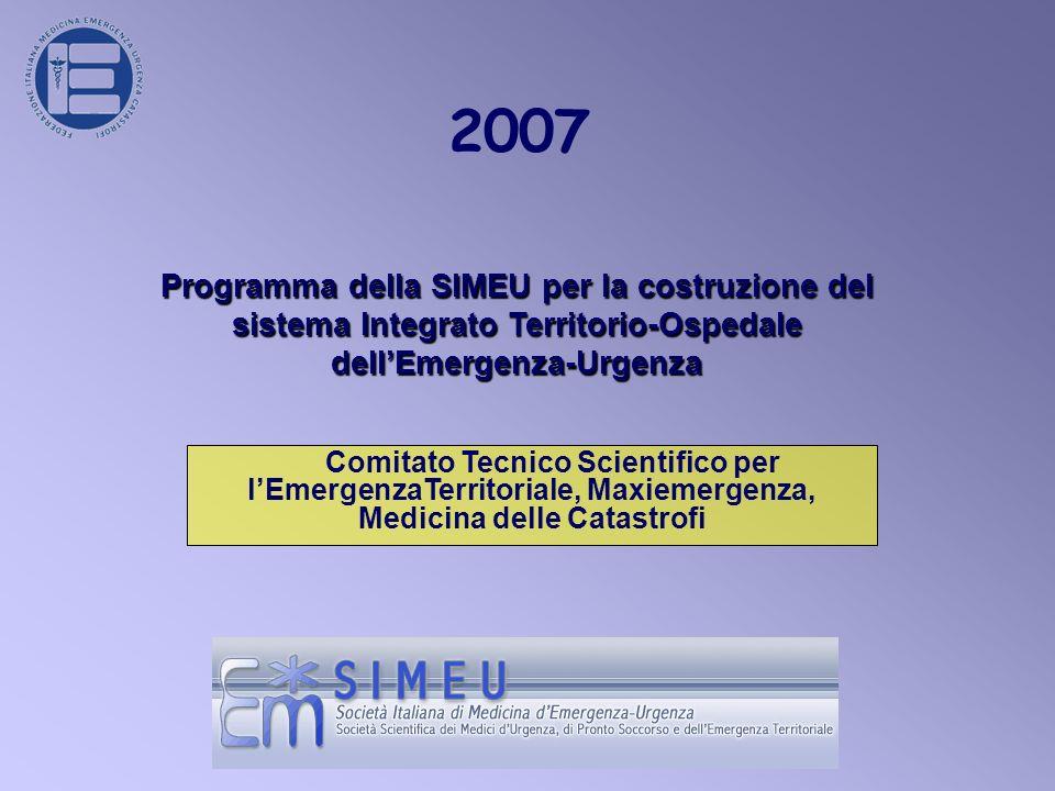 2007 Comitato Tecnico Scientifico per lEmergenzaTerritoriale, Maxiemergenza, Medicina delle Catastrofi Programma della SIMEU per la costruzione del sistema Integrato Territorio-Ospedale dellEmergenza-Urgenza